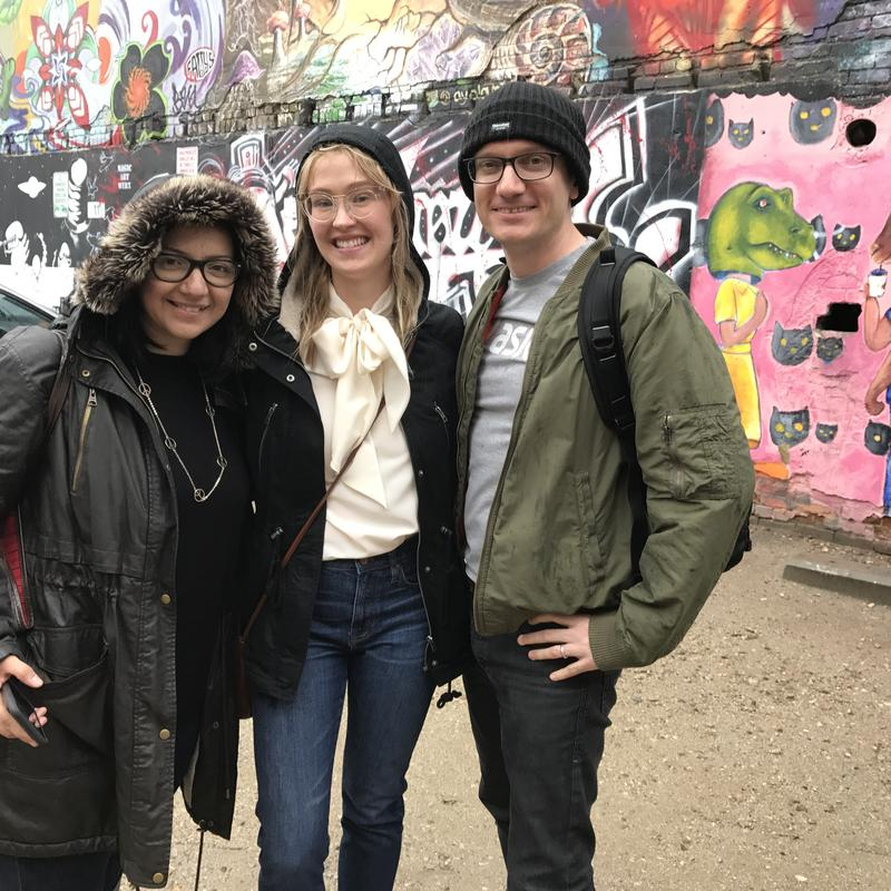 "Frankie Barnhill of KBSX served as the downtown Boise tour guide for ""The Response"" team. She took them to places like the Basque block and Freak Alley, despite the rain."