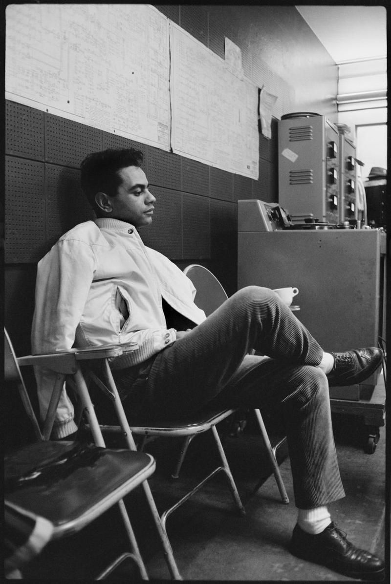 Johnny Mathis takes a break from recording in the 1950's.