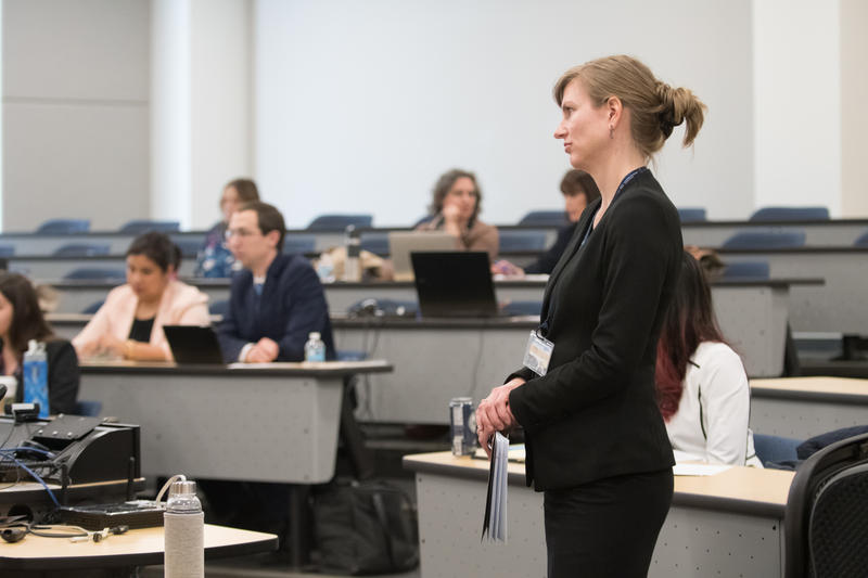 Attorney Nicole Derden oversees law students practicing to go to court in immigration cases.