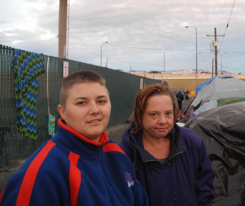 Megan (left) and Anita Sletto in Cooper Court tent camp December of 2015.
