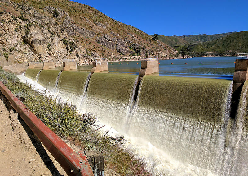 The Arrowrock spillway pushes water out of the already-filled dam.