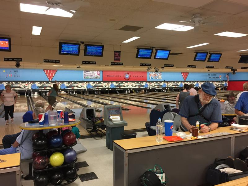 A group of seniors spend the afternoon bowling in the days before 20th Century's closing June 30.