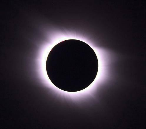 This image shows the Aug. 1, 2008, solar eclipse at the point of totality, when the moon completely blocks out the body of the sun, revealing the normally hidden, halo-like corona.