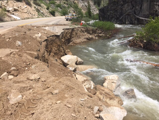 Idaho Highway 21 is closed near Grandjean after high water washed out some of the road.