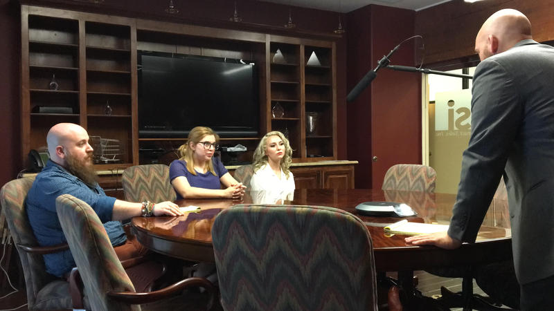 "Actors Duncan Ross, Kat Lizarraga, Haley Ganatos and Taylor Hawker film a conference room scene during Airtight Glass's 2017 i48 entry, ""House Broke-In."""