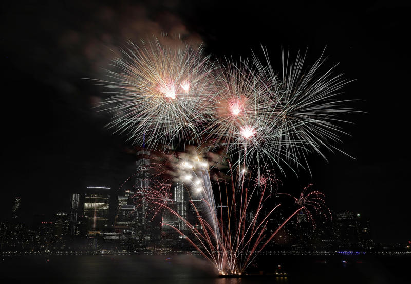 Fireworks explode over the Hudson River during the Jersey City Fourth of July fireworks celebration, Tuesday, July 4, 2017.