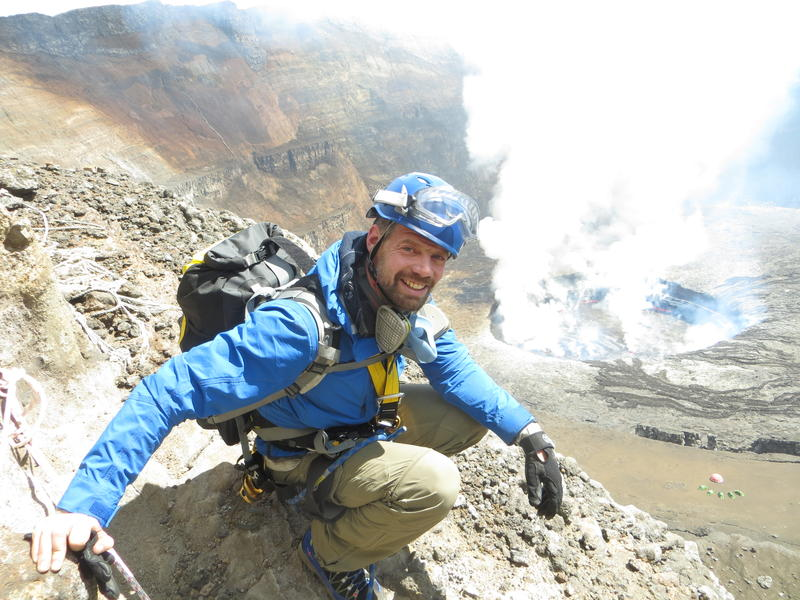 Jeffrey Johnson descending in to crater.  Camp is visible on a terrace 700 feet below.