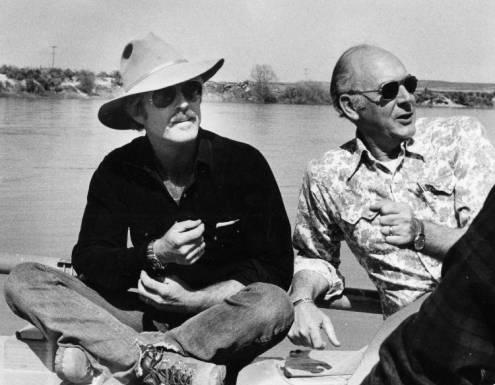 Robert Redford and Interior Secretary Cecil Andrus on a float trip down the Snake River on behalf of preservation of Snake River Birds of Prey Area in Idaho.