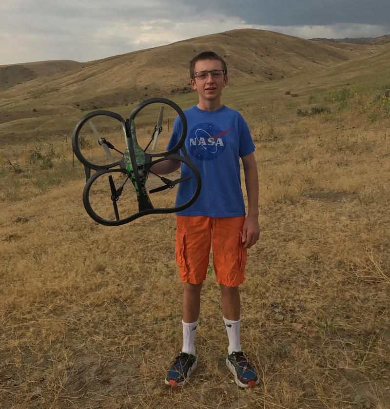 James Eidson prepares to fly his drone just outside of Boise.