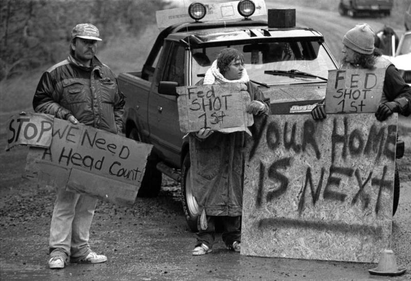 This Aug. 23, 1992, file photo shows Randy Weaver supporters at Ruby Ridge in northern Idaho.