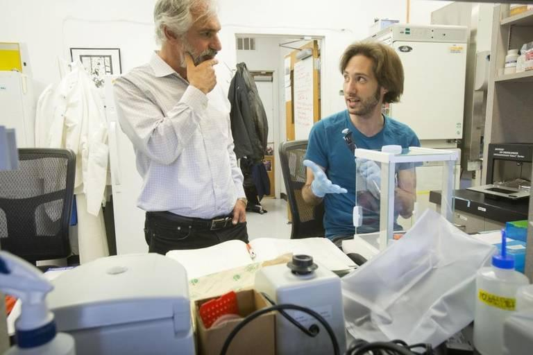 Biology professor Greg Hampikian (left) in a Boise State lab working on DNA evidence.