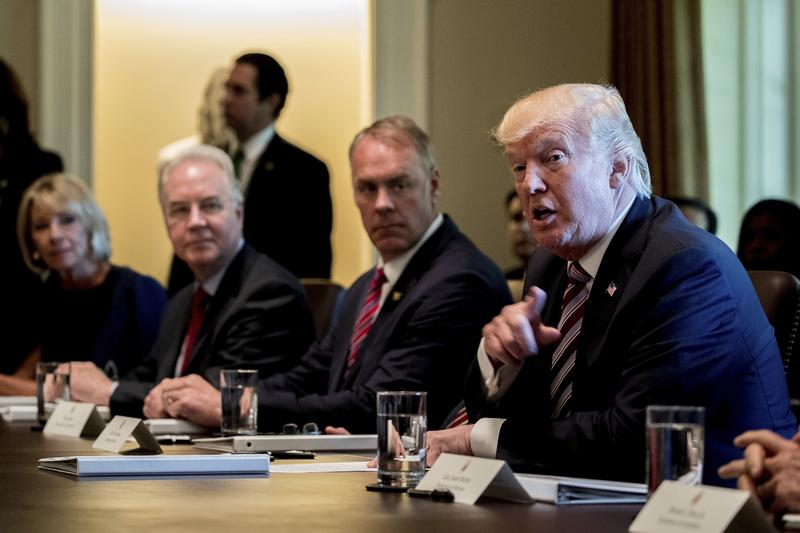 President Donald Trump speaks during a Cabinet Meeting, Monday, June 12, 2017. Interior Secretary Ryan Zinke sits next to him.