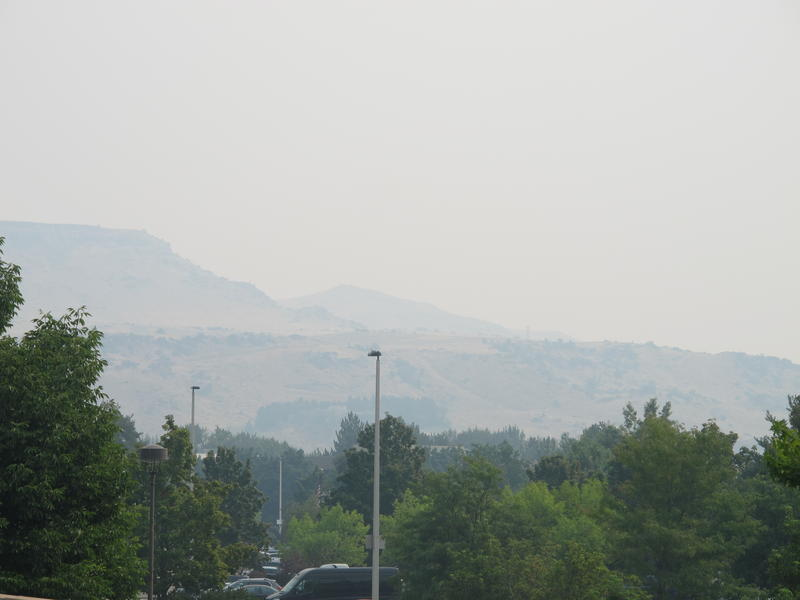 The Boise Foothills disappear into the smoke during Tuesday's Red Air Quailty Alert.