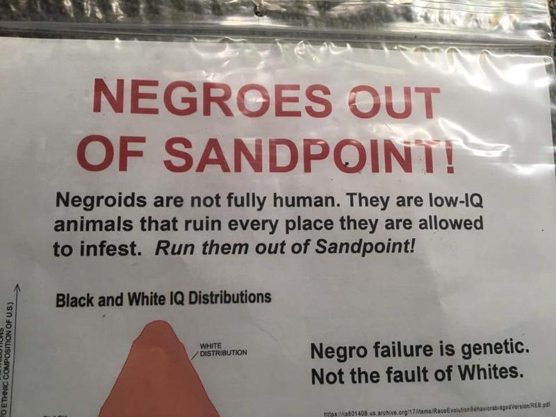 Racist fliers like this one have been left on vehicles and buildings around Sandpoint under cover of darkness recently. Blacks, Jews and a local human rights task force have all been the target of fliers anonymously distributed in the lakeside town.