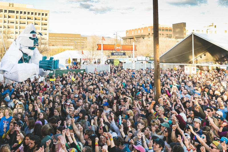 The crowd at the mainstage of Treefort Music Fest in March, 2017. The five-day festival takes over indoor and outdoor venues throughout the downtown.