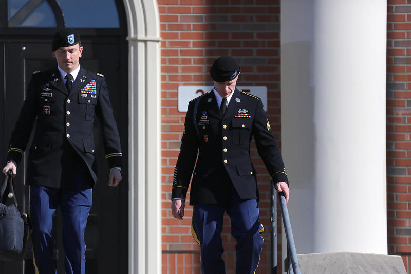 Army Sgt. Bowe Bergdahl, right, leaves a pretrial hearing at Fort Bragg, N.C. with his defense counsel Lt. Col. Franklin D. Rosenblatt, left, on Tuesday, Jan. 12, 2016.