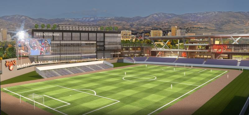 A rendering of the proposed downtown stadium.