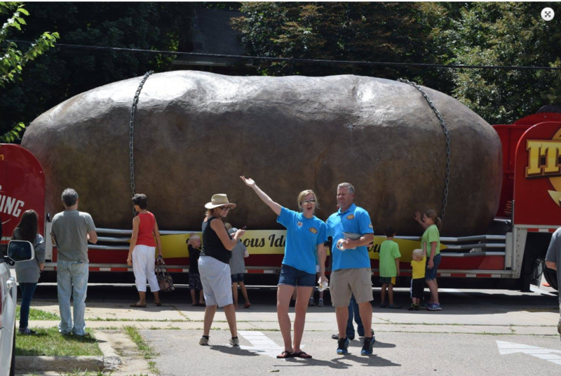 The first giant potato travelled thousands of miles across the country since 2011. Pictured here in Wisconsin.