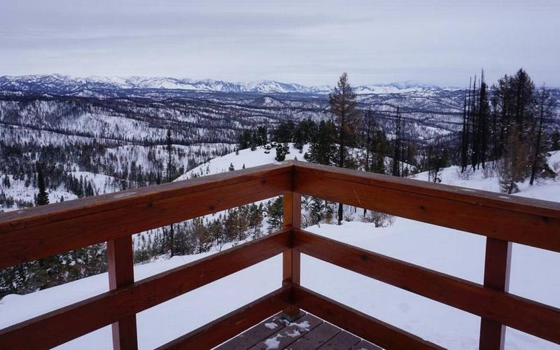 The view from one of the yurts near Idaho City in the winter.