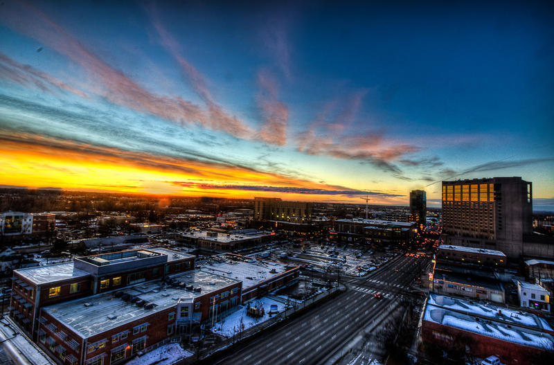 Downtown Boise at sunset.