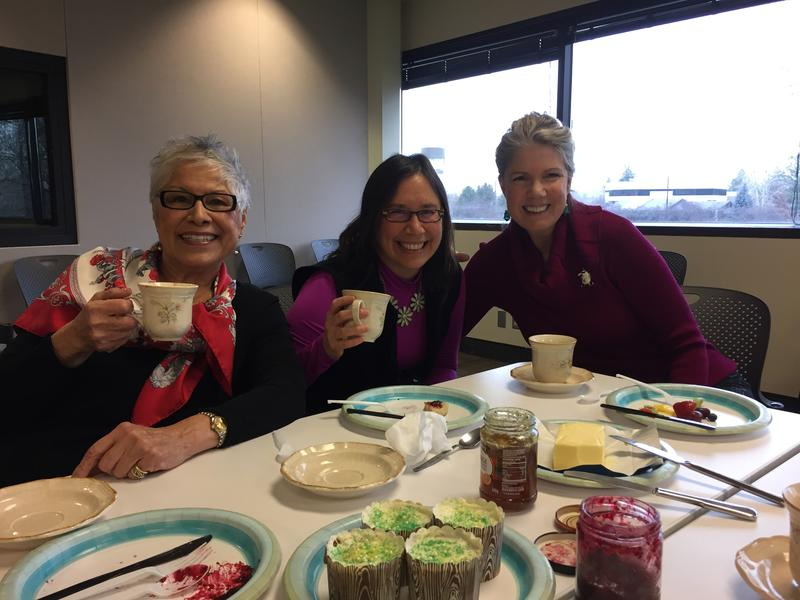 (From left) Personal stylist Ruth Romero, Boise State Professor Pei-Lin Yu and Susan Evans, the founder of Social Essense etiquette school, raise cups of tea at a get together to discuss social graces of the holidays.