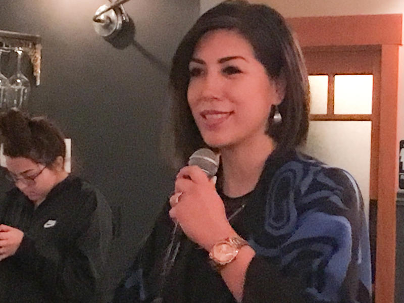 State Rep. Paulette Jordan announces her bid for governor at a Moscow restaurant.