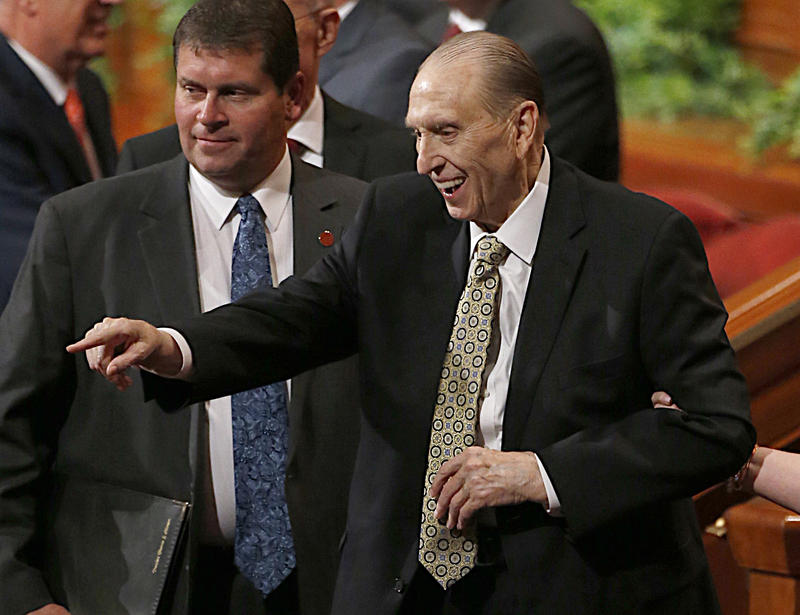 Thomas S. Monson, president of the Church of Jesus Christ of Latter-day Saints, leaves the morning session of the two-day Mormon church conference Saturday, Oct. 1, 2016, in Salt Lake City.