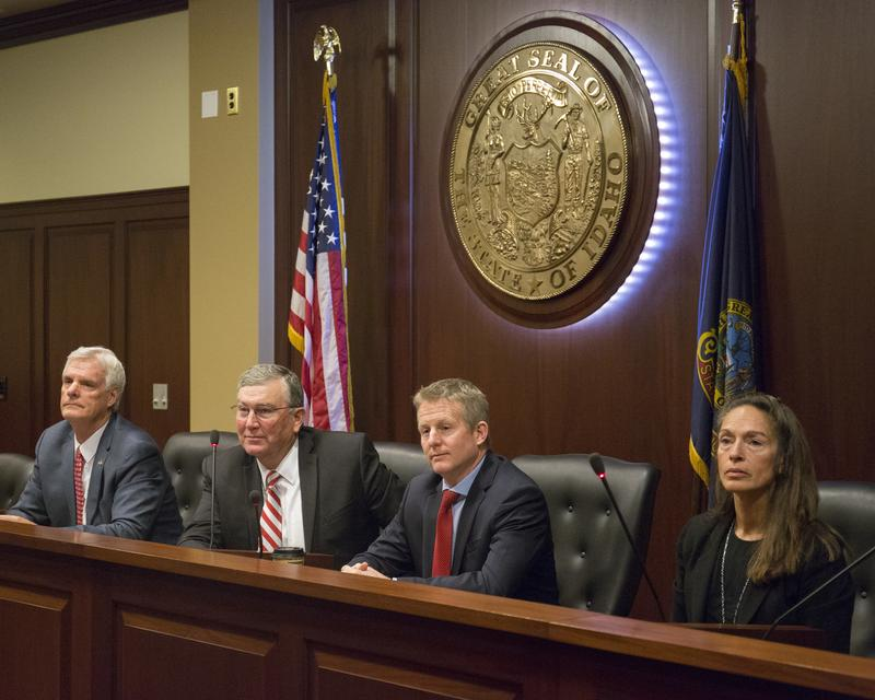 Idaho Senate President Pro Tem Brent Hill, R-Rexburg, House Speaker Scott Bedke, R-Oakley, Idaho, House Minority Leader Mat Erpelding, D-Boise, and Senate Minority Leader Michelle Stennett, D-Ketchum, speak to reporters about the upcoming 2018