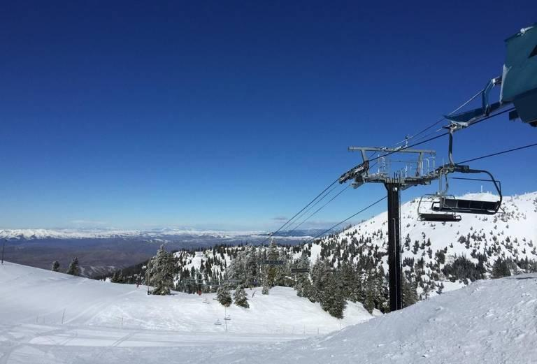 Bogus Basin Mountain Recreation Area is having a difficult snow year. This is what the view from the top of the Deer Point Express looks like in a good year.