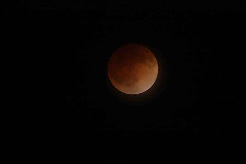 A total lunar eclipse in San Jose, California on April 15, 2014.