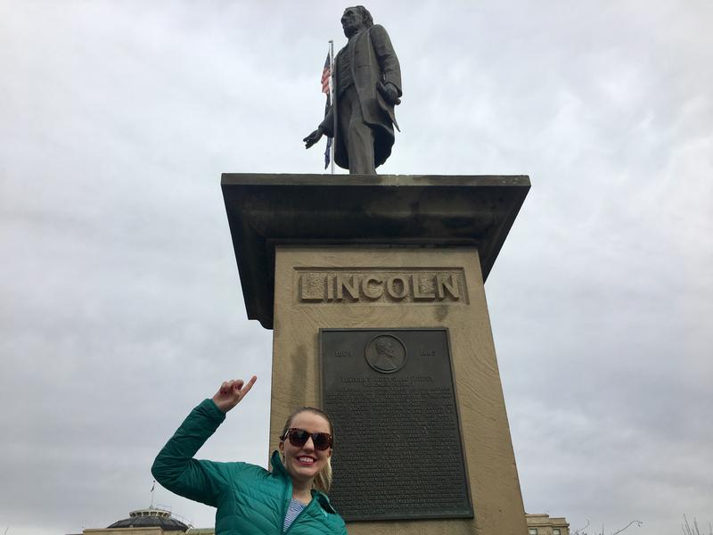 Boise State Public Radio listener Ashlie Baty at the Lincoln statue on Capitol Boulevard in downtown Boise. The second Lincoln statue is near Zoo Boise. Baty is not originally from Idaho, and was curious about our 16th President's connection to the state.