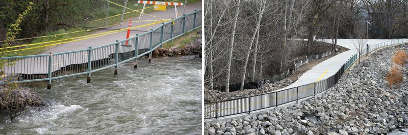 A before and after view of the Boise Greenbelt section that's been reopened along Veterans Memorial Parkway.
