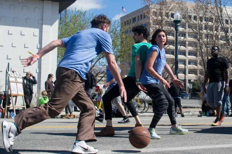 Democratic gubernatorial hopeful Paulette Jordan joins in on a game of Rigsketball with Doug Martsch of Built to Spill and members of Hillfolk Noir Saturday afternoon.