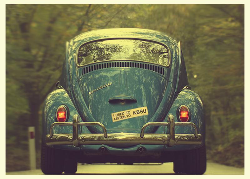 I Used to Listen to KBSU bumper sticker on VW Bug
