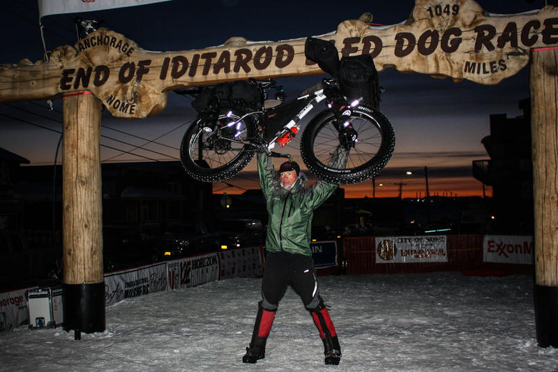 Victor, Idaho resident Jay Petervary has won three Iditarod Train Invitational ultra marathons. He's pictured here hoisting his bicycle during his 2015 win.