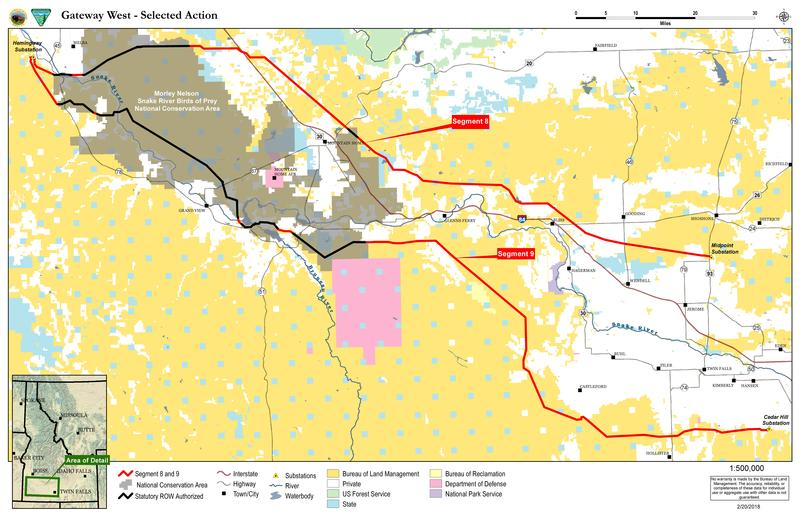 This map shows the last two routes approved for Gateway West by the BLM.