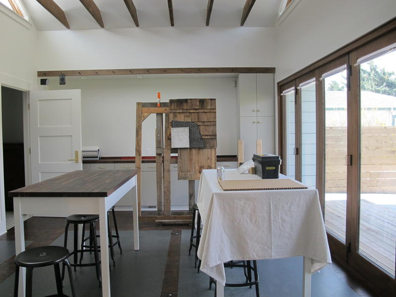 A look inside the interior of the James Castle House. Here, the artist in residence will cook and create their art.