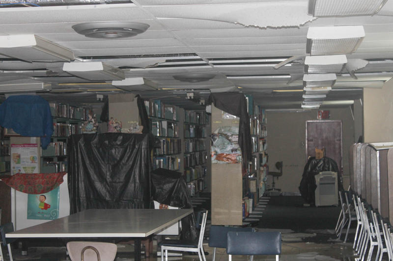 Heavy rains from Hurricane Maria soaked and ruined all 20,000 items in the Colegio San Antonio Abad library in Humacao, Puerto Rico.