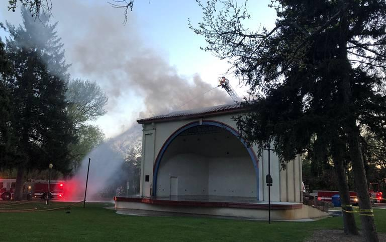 Boise Fire Department crews responded to the fire Monday night at the Gene Harris bandshell in Julia Davis Park.
