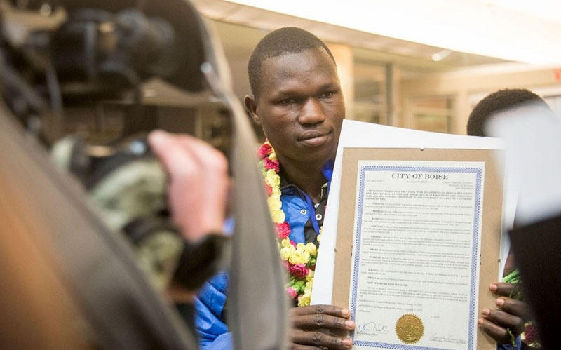 Bahati Sudjonga arrived at Boise Airport in February 2017 after fleeing violence in Congo