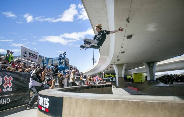 Skateboarder Tom Scharr at Rhodes Skate Park during the men's final for the X Games qualifier in June 2017. Boise will host the qualifying event again in 2018.