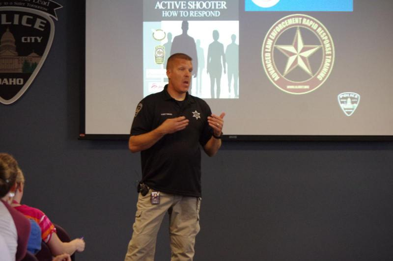 Boise Police Department Officer Kevin Wittmuss gives instruction during active shooter training
