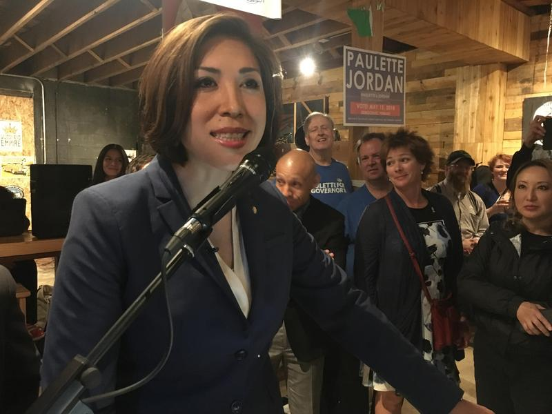 Democratic candidate for governor Paulette Jordan addresses her supporters Tuesday night at The Handlebar Boise.