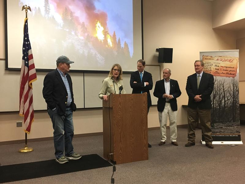 Acting Forest Service Chief Vicki Christiansen talks about the change to wildfire funding alongside Rep. Mike Simpson (left) and Senators Ron Wyden, Jim Risch and Mike Crapo.