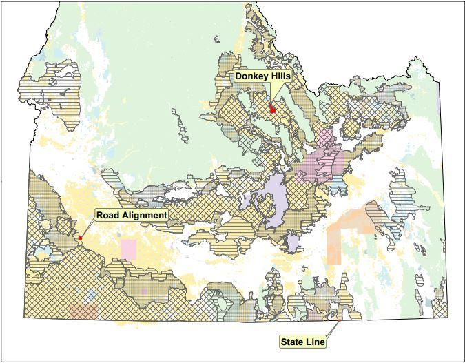 A map showing some of the proposed changes to the current land use plans connected to the sage grouse in Idaho.
