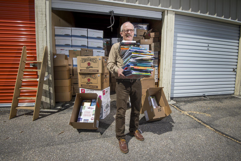 "Stan Steiner at his storage unit full of children's books. ""The Bookman"" is selling off his 40,000 book collection and giving the money to scholarships."