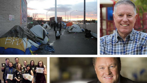 Boise homeless encampment / A.J. Balukoff / Tommy Ahlquist / 2017/8 Boise State University 'The Arbiter' staff