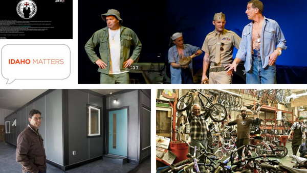 (from top left) AnonPlus manifesto posted to Idaho legislature's website / Boise Music Week's 2013 production of 'South Pacific' / Boise Bicycle Project bike shop / Scott Flynn, founder and CEO of IndieDwell, next to a shipping container home