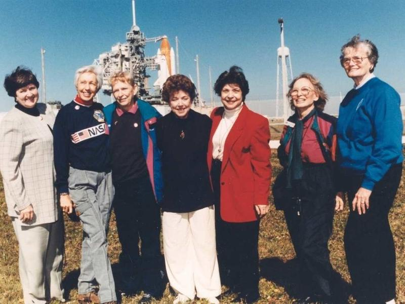 Photo taken in 1995 of 7 of the Mercury 13 team. From left: Gene Nora Jessen, Wally Funk, Jerrie Cobb, Jerri Truhill, Sarah Rutley, Myrtle Cagle and Bernice Steadman.