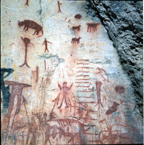 Native American petroglyphs near Blue Dome. ITD Headquarters Collection (AR24). ITD_09145 Drawer 5 Box 2 Slide Box 1. Idaho State Archives.